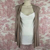 Andrea Missy Top Layered Look Sleeveless Size L Large Cream Taupe