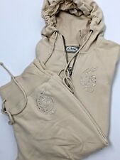 Guess Womens Tunic/Leggings/Capri 2 Piece Hooded Sweatshirt Cream Bling SZ M