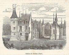 FRANCE vue du Château de Meillan gravure ancienne 1880 /B2mb