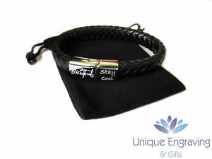 Personlised engraved tribal leather ID bracelet - Great Fathers Day Gift!
