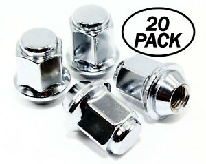 "20 12x1.5 21mm Hex 1.37"" 34.8mm Chrome OEM Factory Style Acorn Lug Nuts"
