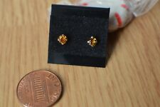 0.36ct  Orange Tourmaline Solitaire Earrings 14K Yellow Gold  ~ VVS 3.7mm