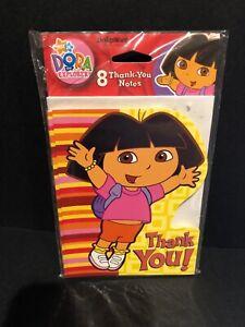 8 American Greeting Dora the Explorer Thank You Notes w/ Envelopes, New Sealed
