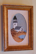 """Dollhouse 1:12 original painting framed artist unknown """"Lighthouse on Shore"""""""