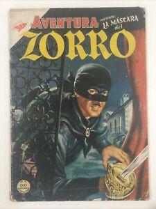 1954 SPANISH COMICS AVENTURA #9 LA MASCARA DEL ZORRO WESTERN SEA NOVARO MEXICO