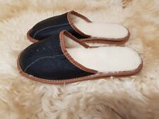 Men's Sheepskin Slippers Mule Shoes Warm Leather Wool Size 6 7 8 9 10 11 12 BW