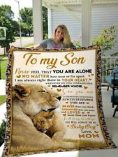 Personalized To My Son From Mom Never Feel That You Are Alone Fleece Blanket