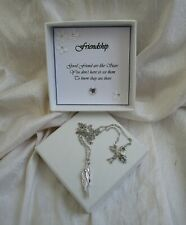 Gift for a friend silver cz angel wing pendant on silver plated chain gift boxed