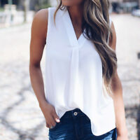 Women's V Collar Tank Tops Casual Chiffon Sleeveless T-Shirt Blouse Chic Haihk