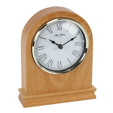 WOODEN BEECH FINISH ARCHED MANTEL CLOCK.NEW AND BOXED. WOOD MANTLE