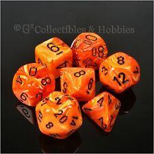 NEW 7pc Set Orange Vortex RPG Dice in Box D&D Game Chessex 7 pc D20 D12 D8 +