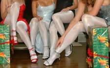D Peavey Snow White Gloss Tights Pantyhose Shiny Nurse Hooters Uniform lingerie