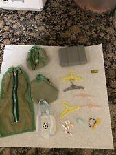 Barbie Doll Vintage Travel Accessories Lot Suitcase & garment  bag matching Lot