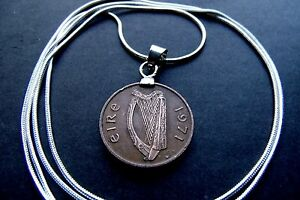 """IRELAND Classic 1971 Lucky Bronze Harp Penny Pendant on a 20"""" 925 Silver Chain"""