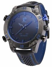 Shark Men's LED Date Day Alarm Digital Analog Quartz Sport Black Leather Band Wrist Watch SH265 Blue