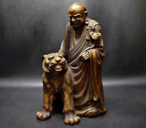 Japanese Antique Ko Bizen Ware Tiger & Priest Figurine 13th Kimura Chojuro Yukei