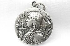 Médaille de Jeanne d'Arc Medal Antique Argent Massif 925 Sterling Silver French