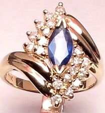 14 KT YELLOW GOLD MARQUISE CUT SAPPHIRE AND DIAMOND RING