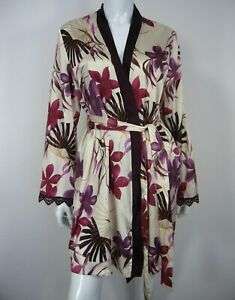 Gilligan & O'Malley Long Sleeve Belted Sleepwear Robe Size S/M Ivory Floral 033