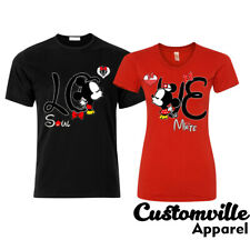 2fc8126d64 LOVE Soul mate Couple Matching T-shirts LO Mickey VE Minnie vacation gift  shirts