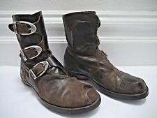 CYDWOQ $392 Mu dark brown textured leather buckle detail ankle boots size 37