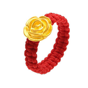 Pure 999 GOLD 24K Yellow Gold Rose with Red Cord Lucky Ring