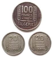 FRANCE / ALGÉRIE - Superbe LOT 3 MONNAIES / 1 de 100 FRANCS et 2 de 20 FRANCS