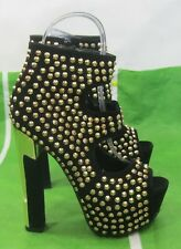 "Black Gold Spikes 6""High Block Heel 2""Platform Sexy Shoes Ankle Strap Size 7.5"