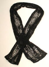"""Ralph Lauren Purple Label Collection  BLACK TULLE BEADED SCARF 57x5"""" Luxury A3F"""