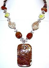 "FN156f Red Agate Gemstone & Lampwork Glass Pendant 16"" Necklace"