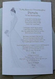 Handmade Personalised Beside You On Wedding Day Bride From Deceased Loved A9