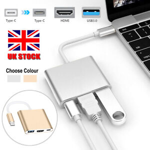 Type C to HDMI 4K USB 3.0 USB-C 3 in 1 Hub Adapter Cable For Apple Android Mac