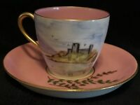 Antique Small Child's Tea Cup and Saucer, Pink~Gold Border~Landscape
