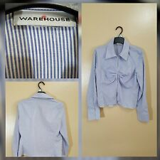 WOMEN'S WAREHOUSE SIZE UK 12 BLUE & WHITE SMART SHIRT