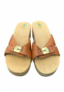 Vintage Dr Scholls Original Clogs Exercise Wooden Soles Sandals Size 7( ITALY)