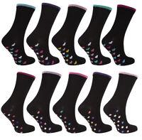 COTTONIQUE Womens Ladies 5 Pairs Socks Black Heart/Dot Cotton Blend
