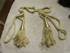 Vintage Retro 60s 70s Window Curtain Tie Back Heavy Rope Beige Gold Tassel Set