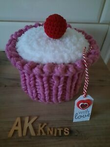 Handmade Knitted Cupcake Toilet Roll Cover Cosy Unique Novelty Gift Idea