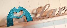 Handmade HEART HANDS Symbol Wooden Ornament BLUE TEAL GLITTER Home Decor Gift