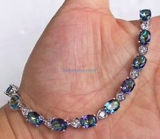18K White Gold Filled - Oval Blue Elegant MYSTICAL Rainow Topaz Bracelet Women