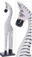 More details for zebra tall handmade carved animal wood free standing painted fair trade 50cm