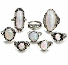 Wholesale bulk lots 40pcs assorted Resin Imitation Opal Alloy metal Ring jewelry