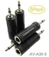 "5Pack 1/4"" (6.3mm) Stereo TRS Female to 3.5mm (1/8"") Mono TS Male Audio Adapters"