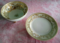 Antique Nippon Moriage Morimura Ivory Gold Hand Painted Footed Bowl Plate Set