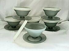 Vintage Tupperware Pudding Dessert Jello Sherbet Cup Lids Smoke Gray Set Of  6