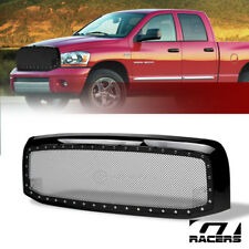 For 2002-2005 Dodge Ram Blk Rivet Bolt Steel Mesh Front Hood Bumper Grill Grille
