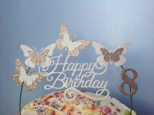 White and PINK Swirly Cake Decoration Glitter card Butterfly CERISE Topper Arch