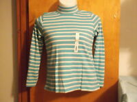 "BRAND NEW ""WHITE STAG""  MOCK NECK  TOP with L/S in  BLUE HORIZONAL STRIPE DESIGN"