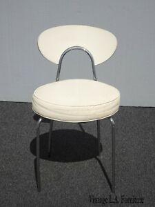 Vintage Mid Century Modern White Chrome Side Chair Vanity Chair