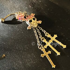 14g Cz Dangle Sparkle Pink Skull And Crossbones Belly Button Ring (#34)